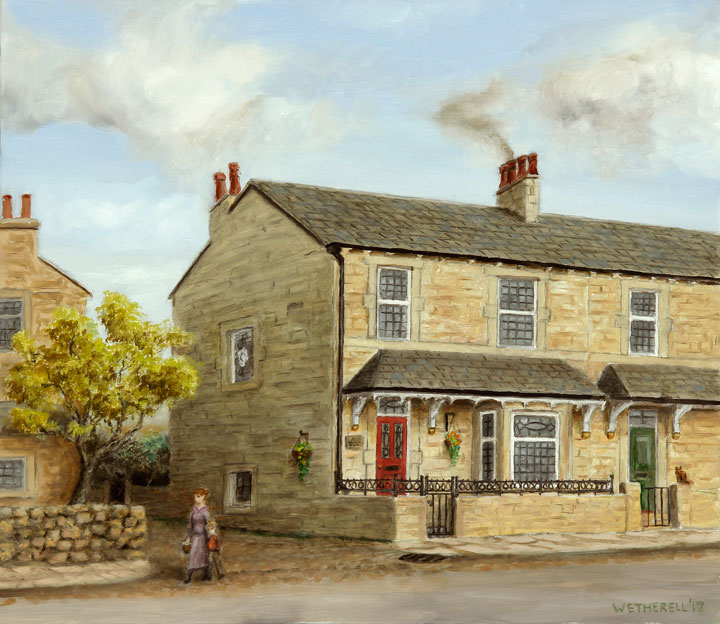 painting of yorkshire stone house